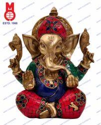 Lord Ganesh Carved W/Big Ears & Stone Work Statue