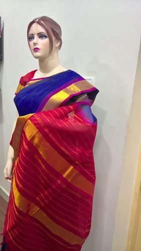 Silk Cotton Big Border Plain Sarees