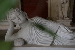 White Marble Buddha Statue In Reclining Position