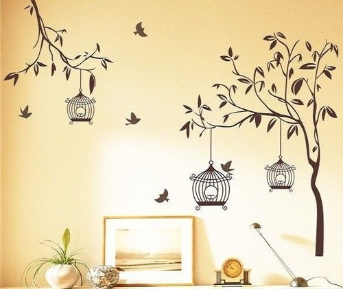 Living Room Wall Stickers - Beautiful Brown Tree Birds Cage Wall ...