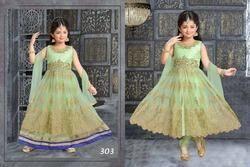 Pastel Green Anarkali Suits Lehenga For Kids