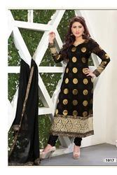 Black Faux Georgette Jacquard Churidar Kameez