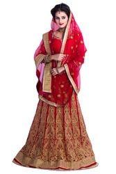 Red Embroidered Wedding Wear Unstitched Lhenga Choli