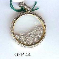 Circle Shape Gold Fine Loose Diamond Pendant