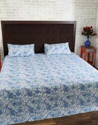 Blue Sea Green Block Printed Cotton Throws Bed Sheet