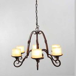 Wrought Iron 6 Arm Chandeliers