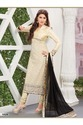 Beige Super Net and Net Churidar Kameez