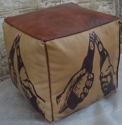 Canvas Pouf -  Leather Pouf