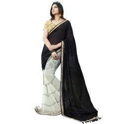 Black and White Half Half Saree