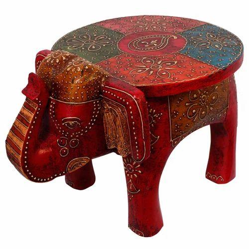 Wooden Handicrafts Handcrafted Wooden Elephant Design Stool