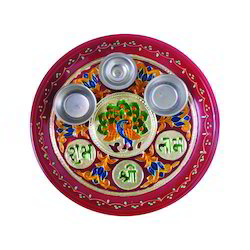 Uniqa White Metal Painting Pooja Thali