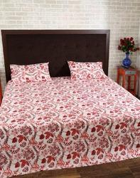 Floral Hand Block Printed Pink Red Cotton Handloom Bed Sheet Set