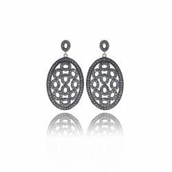 Diamond Dangle Filigree Earrings