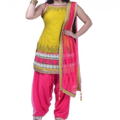 Unstitched Embroidery Salwar kameez Suit Designer Chanderi Shalwar Dress JM