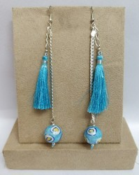 Blue Pottery Tassels Earrings