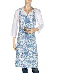 Blue And Sea Green Block Printed Floral Cotton Cooking Apron