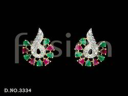 Ruby Emerald CZ Studs