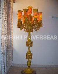 Yellow Opal Pedestal Lamp
