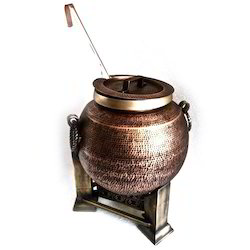 Smokey Finished Copper Mughlai Soup Pot with Laddle