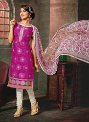 Designer Pink and White Churidar Suit
