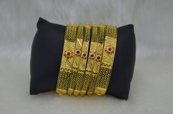 1 Gram 24ct Gold Plated 6pc Fancy Bangles