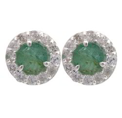 925 Sterling Silver Emerald Studs