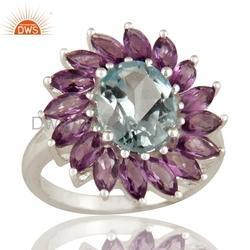 Flower Design Gemstone 925 Silver Rings