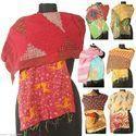 Vintage Cotton Sari Kantha Scarves 19x70 Stoles SC19