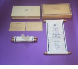 Boxed Fabric Covered Custom Printed Scroll Invites