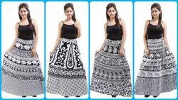 White & Black Wraparound Skirt