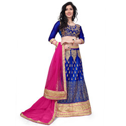 Blue Net Heavy Embroidered Lehenga