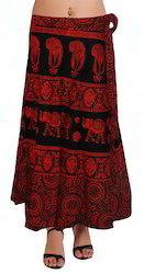 Colorful Elephant Wrap Skirt