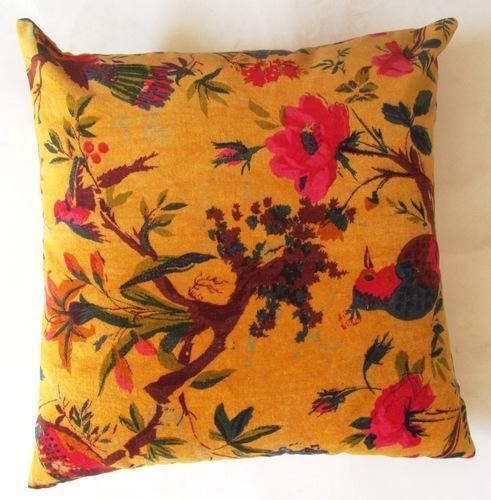 Yellow Bird Velvet Cotton Cushion Covers/ Pillows