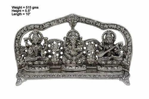White Metal Laxmi Ganesha Saraswati Idol