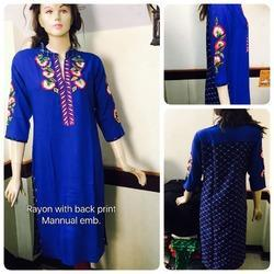 Rayon Embroidered Kurti