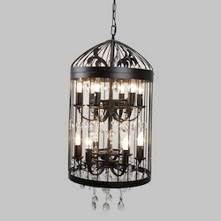 Vintage Cage With Crystal Hanging Lamp