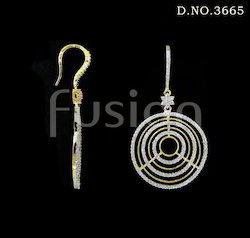American Diamond Pearl Hanging Earrings