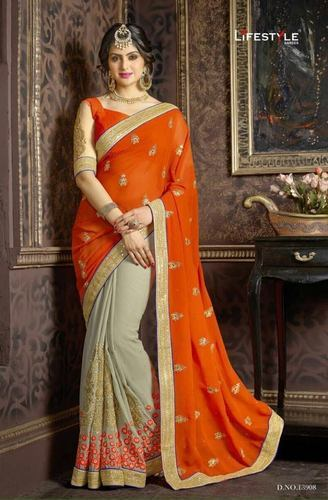 Orange Designer Fabulous Saree Wear