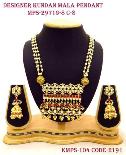 Traditional Kundan Necklace Set With Vilandi Kundan Strings