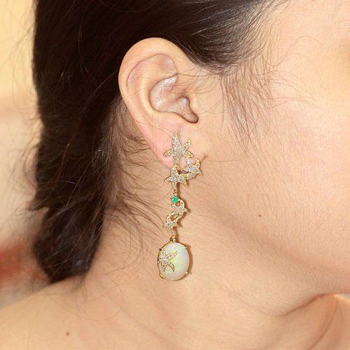 18k Gold Emerald Diamond Opal Earrings
