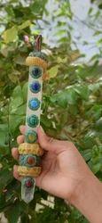 Tibetian Healing wand-Z1, Tiger Angel, Rose Quartz faceted w