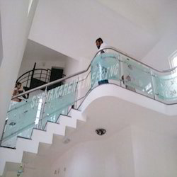 S.S with Glass Railing with Aside Work