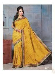 Gold Nylon Banarasi Zari Jacquard Saree