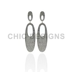 Diamond Pave Silver Earrings
