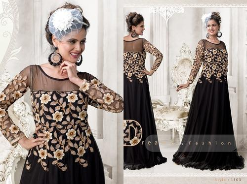 Designer Gowns - Black Embroidered Gown Manufacturer from Surat