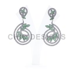 Tsavorite Diamond Dangle Earrings