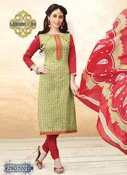 Ladies Red and Beige Churidar Suit