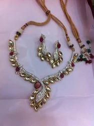 American Diamond Necklace Set with Kundan