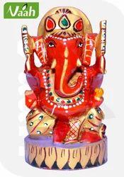 Vaah Carved Marvelous Wooden Colored Ganesha Idol