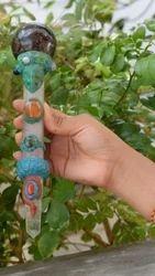Tibetian Healing Wand-p1, Garnet Ball, Rose Quartz Faceted W